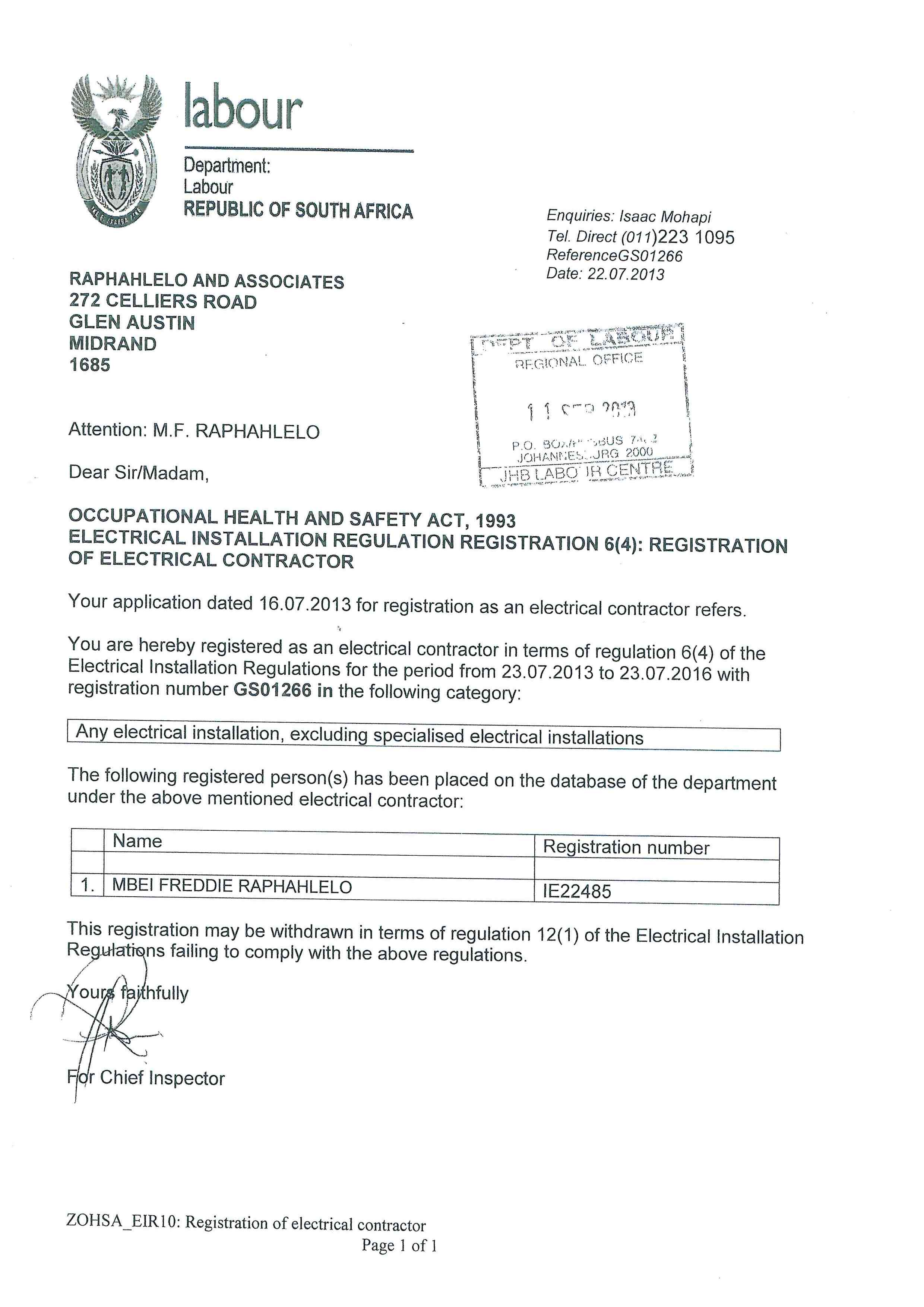 F J Electrical About Us Wiring Certificate South Africa Affs